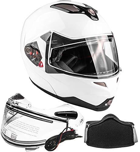 Typhoon Dual Visor Modular Full Face Snowmobile Helmet With Heated Shield, Breath Box (White, Small)