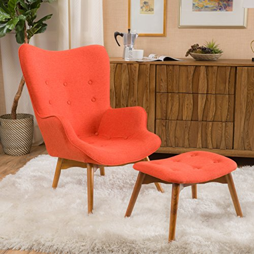 Christopher Knight Home Acantha Mid Century Modern Retro Contour Chair with Footstool, Muted Orange