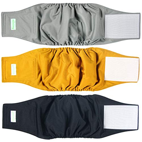 Wegreeco Washable Male Dog Belly Wrap - Pack of 3 - (Gold,Black,Grey,Small)