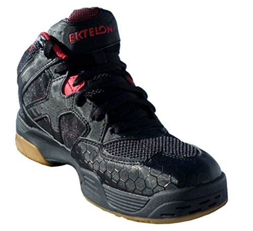Ektelon Men's NFS Attack Black/Red Synthethic Mid Racquetball Shoes 10.5 D(M) US