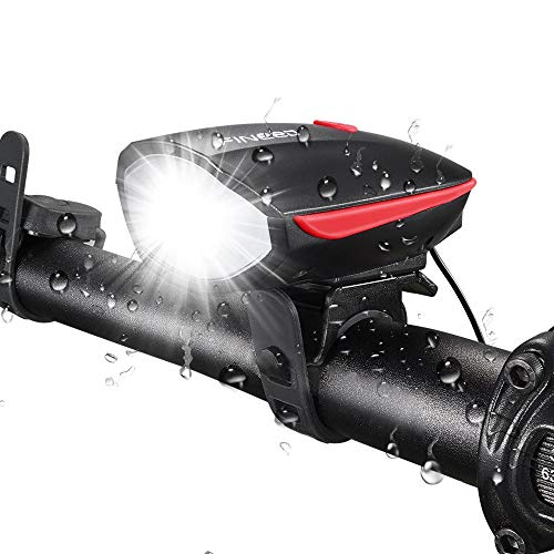 Fineed Bike Light Front Horn Set, 250 Lumen, USB Rechargeable, Waterproof Front Light for Outdoor...