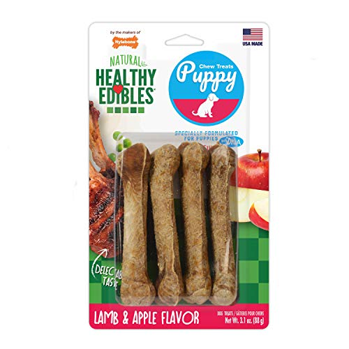 Nylabone Healthy Edibles Puppy Chew Treats, Lamb & Apple, Petite, 4 Count