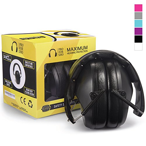 Pro For Sho 34dB Safety Ear Protection - Special Designed Ear Muffs Lighter Weight & Maximum Hearing...