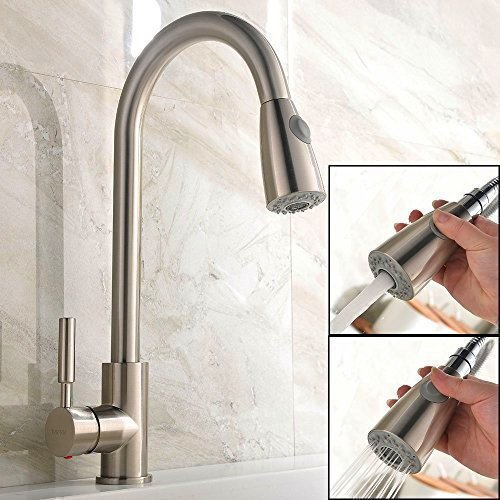 UFaucet Brushed Nickel Stainless Steel Single Handle Pull out Sprayer Prep Kitchen Faucets,Pull Out...