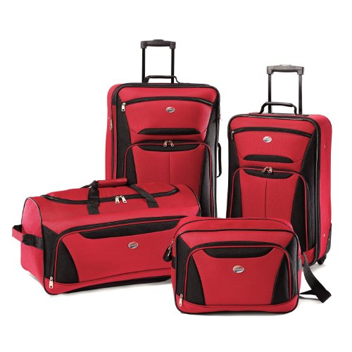American Tourister Fieldbrook II Softside Luggage, Red/Black, 4-Piece Set