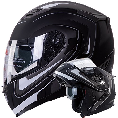 IV2 Mars Dual Visor Modular Flip up Matte Black with White Strips Motorcycle Snowmobile Helmet DOT...