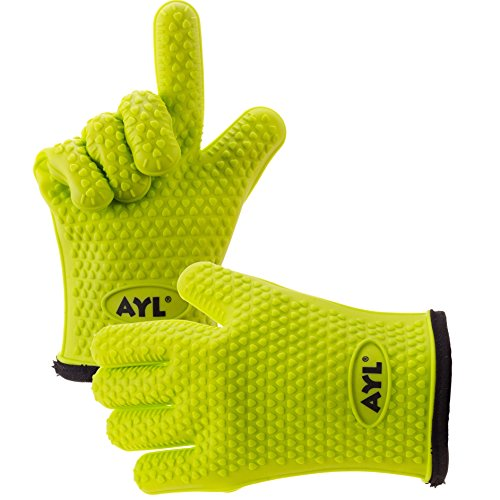 AYL Silicone Cooking Gloves - Heat Resistant Oven Mitt for Grilling, BBQ, Kitchen - Safe Handling of...