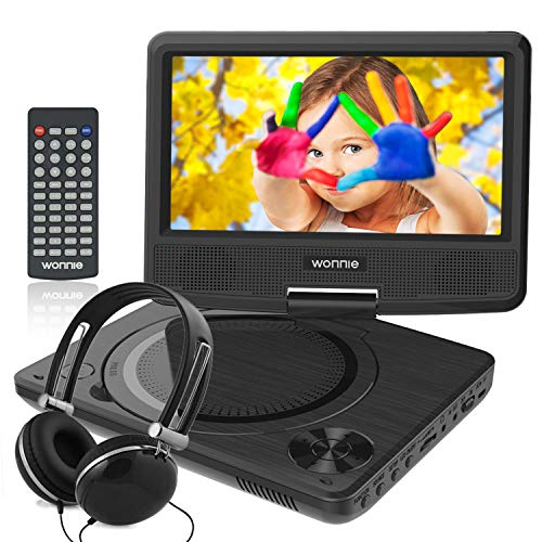 WONNIE 9.5' Kids DVD Player Portable with 4 Hours Rechargeable Battery, 7.5' Swivel Screen, SD Card...