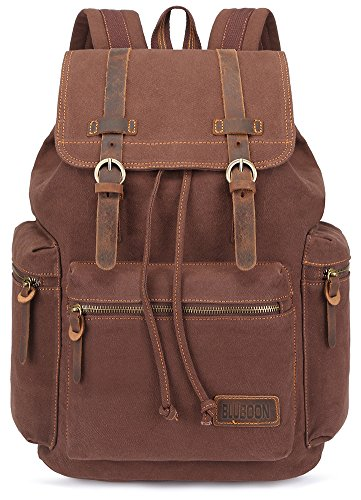 BLUBOON Canvas Vintage Backpack Leather Trim Casual Bookbag Men Rucksack (Coffee)