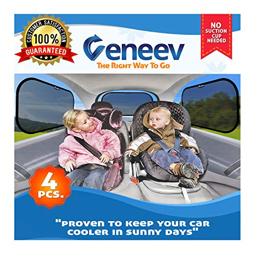 Car Sun Shade for Side and Rear Window (4 Pack) - Car Sunshade Protector - Protect your kids and...