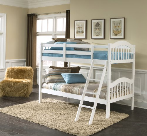 Storkcraft Long Horn Solid Hardwood Twin Bunk Bed, White Twin Bunk Beds for Kids with Ladder and...