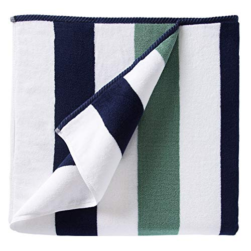 Oversize Plush Cabana Towel by Laguna Beach Textile Co   Navy and Seafoam Green  1 Classic, Beach...