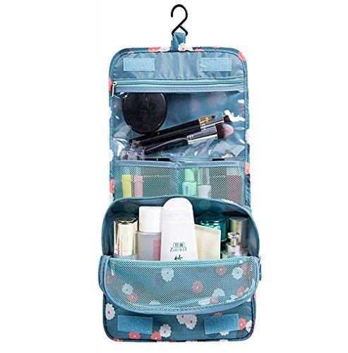 AKIRO Hanging Toiletry Kit Clear Travel BAG Cosmetic Carry Case Toiletry (Flower in Sky Blue)