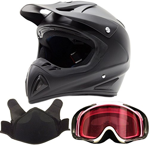 Adult Snocross Snowmobile Helmet & Goggle Combo - Matte Black, Carbon Fiber Print (Large)