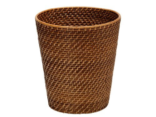 KOUBOO 1030011 Round Rattan Waste Basket, 10.25' x 10.25' x 11', Honey Brown