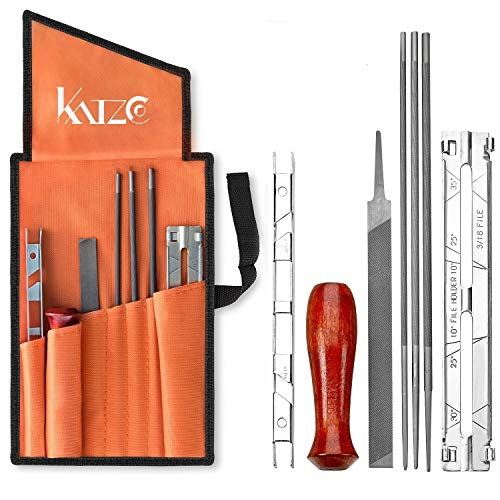Katzco Chainsaw Sharpener File Kit - Contains 5/32, 3/16, and 7/32 Inch Files, Wood Handle, Depth...