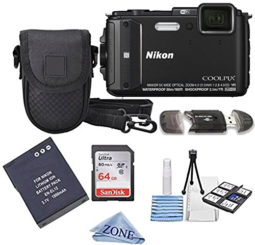 Nikon COOLPIX AW130 16.0-Megapixel 5X Optical Waterproof Digital Camera + Extra Battery, 64GB Memory...