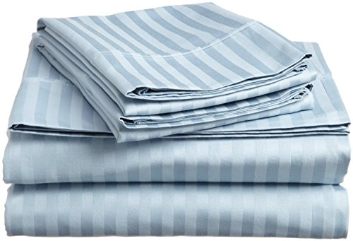 FULL SIZE 1500 Thread Count STRIPED Sheet set, LIGHT BLUE