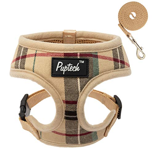 PUPTECK Soft Mesh Dog Harness Pet Puppy Comfort Padded Vest No Pull Harnesses, Cream Small