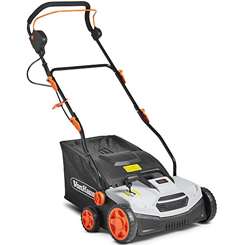 VonHaus 12.5 Amp Corded 15' Electric 2 in 1 Lawn Dethatcher Scarifier and Aerator with 5 Working...