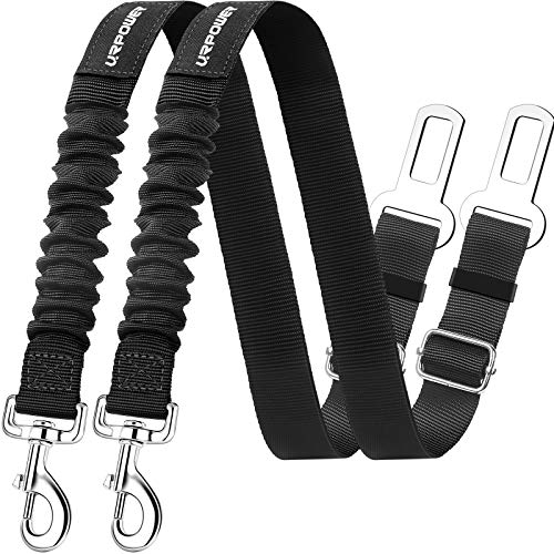 URPOWER Dog Seat Belt 2 Pack Dog Car Seatbelts Adjustable Pet Seat Belt for Vehicle Nylon Pet Safety...
