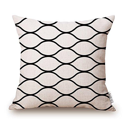 Elviros Linen Cotton Blend Decorative Scandinavian Modern Geometric Design Zippered Throw Pillow...