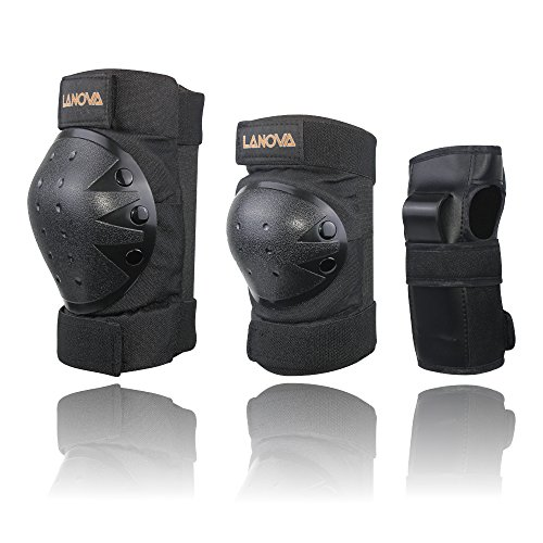 Lanova Child Adult Knee Elbow Pads with Wrist Guards for Safety Protection Scooter Skateboard...