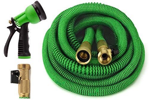 GrowGreen Garden Hose 50 Feet Expandable Hose with All Brass Connectors, 8 Pattern Spray Nozzle and...