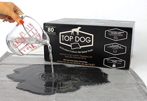 Top Dog Black Premium Puppy Pee Pads - Dog Training Pads with Quick-Dry Odor Control Carbon -...
