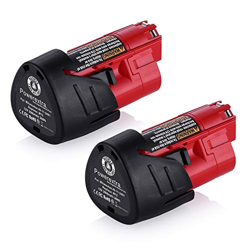 Powerextra 2 Pack 12V 3000mAh Lithium-ion Replacement Battery Compatible with Milwaukee M12...