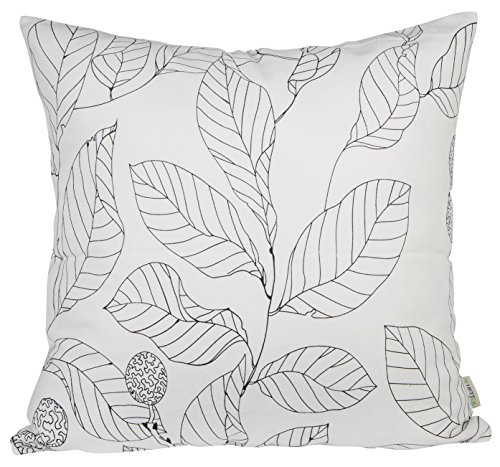 BLUETTEK Leaf Pattern Canvas 18' X 18' Canvas Decorative Throw Pillow Cover Cushion Case (White)