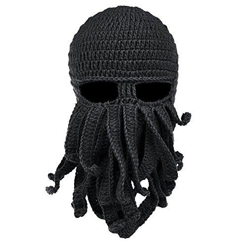 Vbiger Beard Hat Beanie Hat Knit Hat Winter Warm Octopus Hat Windproof Funny for Men & Women Black...