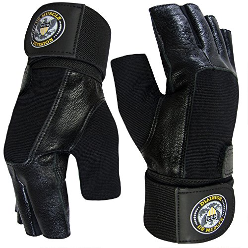 US Muscle Division Weight Lifting Gloves - Soft Leather Gym Gloves with Wrist Support + Double...