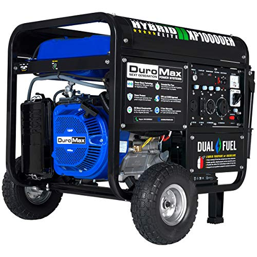 DuroMax XP10000EH Dual Fuel Portable Generator - 10000 Watt Gas or Propane Powered-Electric Start-...