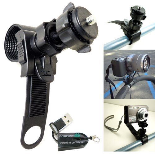 ChargerCity Swivel Adjustment HD Action Camera Camcorder Tripod Mount for ATV Snowmobile Motorcycle...