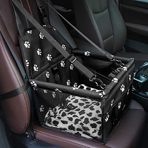GENORTH Small Dog Car Seat Upgrade Deluxe Portable Small Pet Booster Seat with Clip-On Safety Leash...