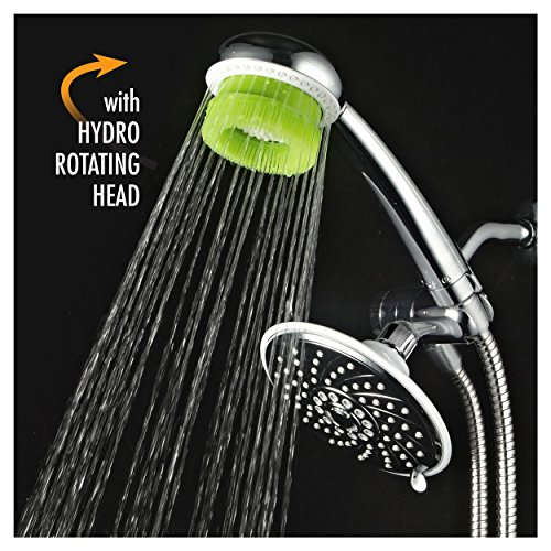 HotelSpa Rainfall Head and Handheld Shower with Rotating Hydrobrush Massager and 6 Feet Stainless...