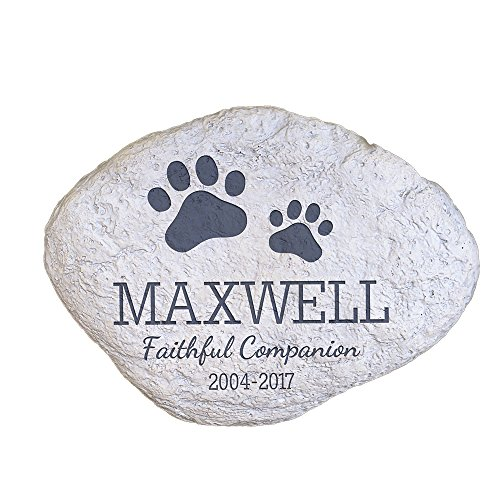 GiftsForYouNow Personalized Pet Memorial Garden Stone with Paw Prints, 11' W x 8' H x 1.5' D, 2.56...