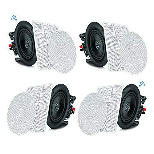 "Pyle 6.5"" 4 Bluetooth Flush Mount In-wall In-ceiling 2-Way Speaker System Quick Connections..."