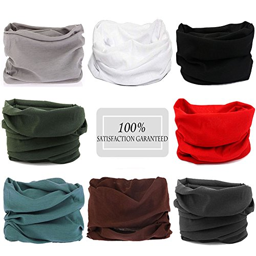 N'joy 8PCS Magic Sports Headband, Seamless Bandana Tube with UV Protection