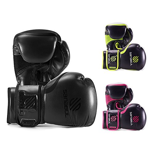 Sanabul Essential Gel Boxing Kickboxing Fighting/Bag Gloves (All Black, 8 oz)