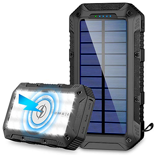Solar Charger 26800mAh,GRDE Wireless Portable Solar Power Bank Panel Charger with 28 LEDs and 4...