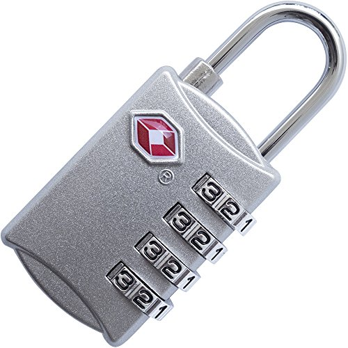 4 Digit TSA Lock - Approved Travel Padlock for Suitcases & Baggage - All Metal Construction - Silver