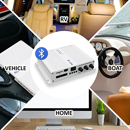 6-Channel Bluetooth Audio Marine Amplifier - 600 Watt Power Compact Weather Resistant Audio Amp...