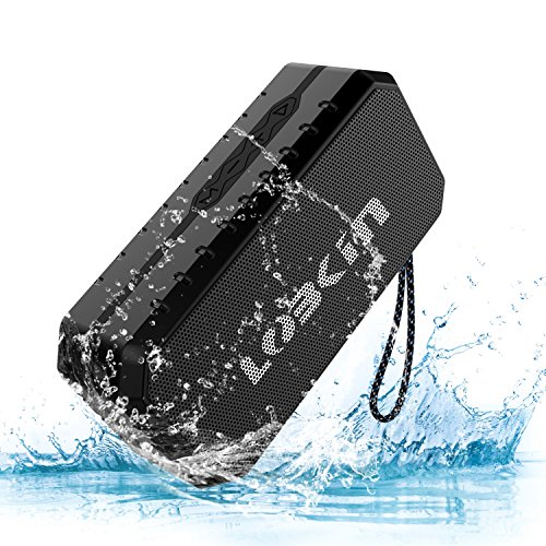 Waterproof Bluetooth Speaker IPX5, LOBKIN Portable Wireless Stereo Speaker with Built-in Mic,...