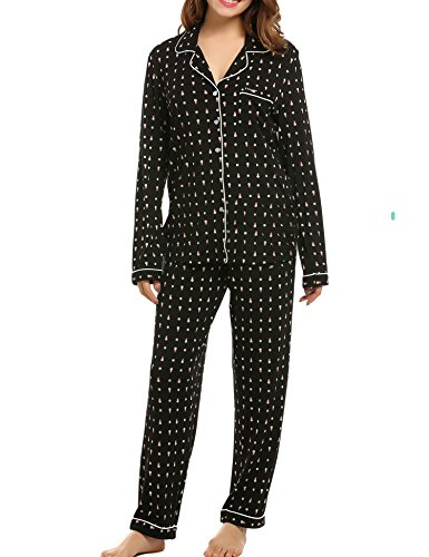 Ekouaer Womens Pajama Sets Cotton 2 Pc Sleepwear(Black with Snowman, Small)