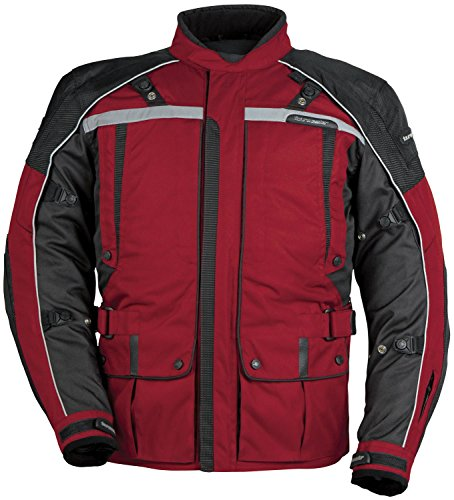 TourMaster Transition Series 3 Men's 3/4 Outer Shell Textile Motorcycle Jacket (Wine/Black, Large)