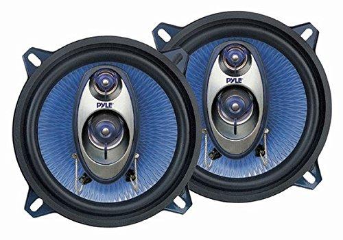 "5.25"" Car Sound Speaker (Pair) - Upgraded Blue Poly Injection Cone 3-Way 200 Watt Peak..."