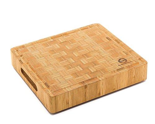 Small End Grain Bamboo Cutting Board | Professional, Butcher Block | Non-Slip Rubber Feet