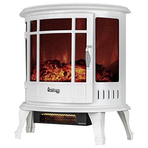 e-Flame USA Regal Freestanding Electric Fireplace Stove - 3-D Log and Fire Effect (White)
